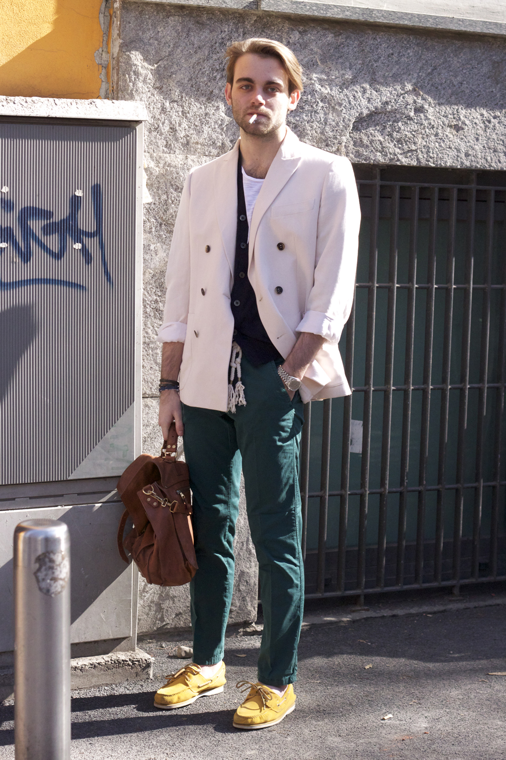 WHite jacket, yellow boat shoes |